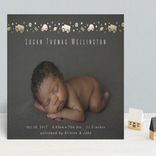 Cars and Balls Foil-Pressed Birth Announcements