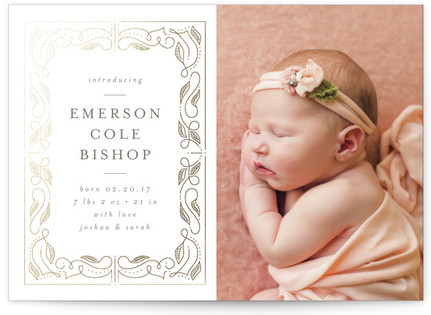 Our Story Foil-Pressed Birth Announcement Cards