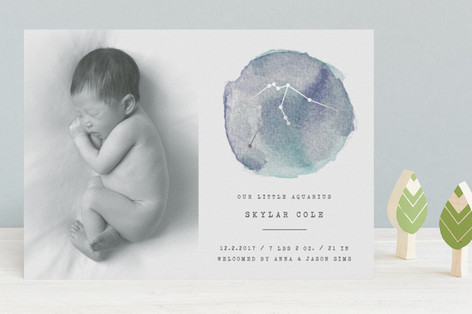 Little Aquarius Foil-Pressed Birth Announcements