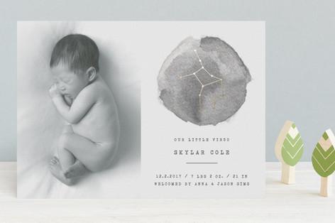 Little Virgo Foil-Pressed Birth Announcements