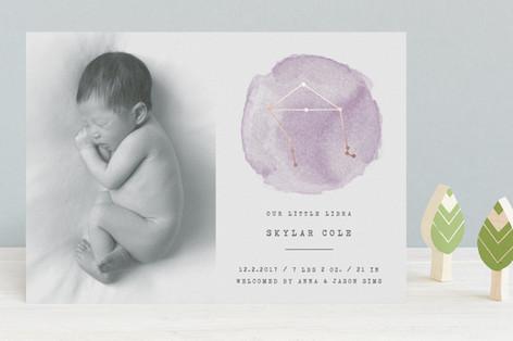 Little Libra Foil-Pressed Birth Announcements