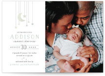 This is a green foil stamped birth announcement by Joanna Griffin called Little Star with foil-pressed printing on smooth signature in standard.