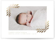 This is a brown foil stamped birth announcement by Angela Thompson called Laurel frame with foil-pressed printing on smooth signature in standard.