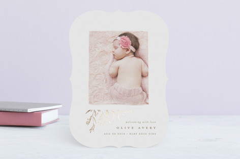 sweet branches Foil-Pressed Birth Announcements