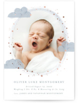 This is a white foil stamped birth announcement by Joanna Griffin called Little Star with foil-pressed printing on smooth signature in standard.