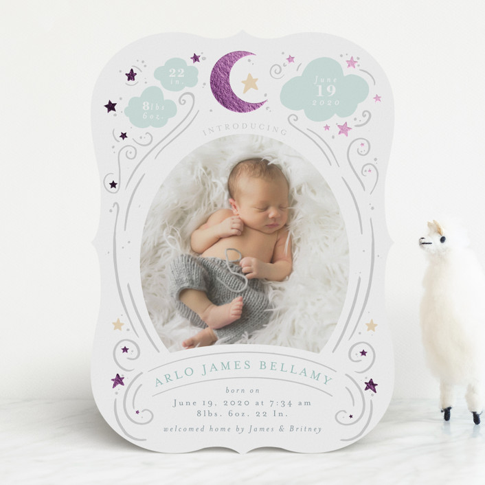 """Starlight"" - Whimsical & Funny Foil-pressed Birth Announcements in Stardust by Itsy Belle Studio."