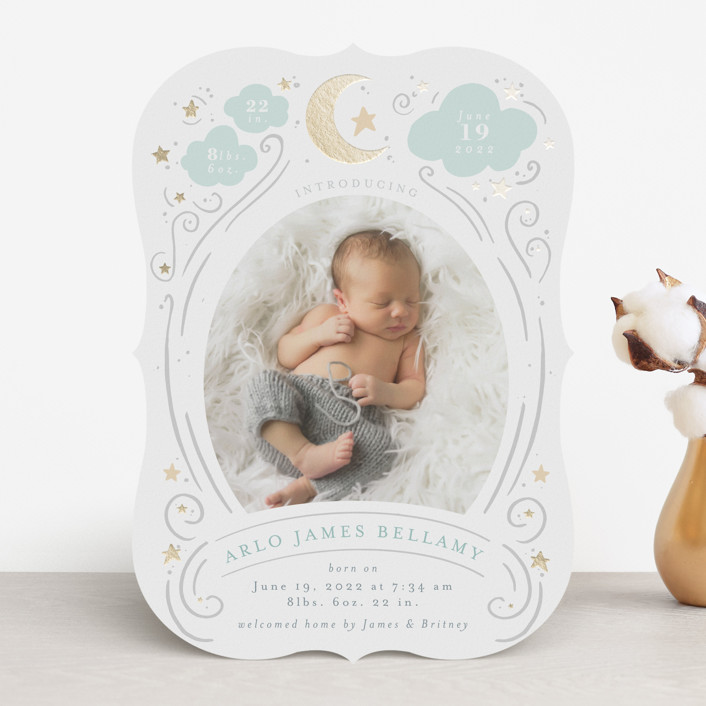 """""""Starlight"""" - Whimsical & Funny Foil-pressed Birth Announcements in Stardust by Itsy Belle Studio."""