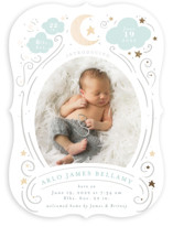 This is a blue foil stamped birth announcement by Itsy Belle Studio called Starlight with foil-pressed printing on signature in standard.