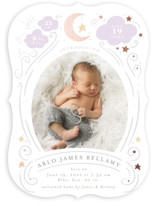 This is a purple foil stamped birth announcement by Itsy Belle Studio called Starlight with foil-pressed printing on recycled in standard.