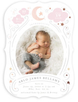 This is a pink foil stamped birth announcement by Itsy Belle Studio called Starlight with foil-pressed printing on recycled in standard.