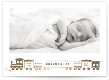 This is a white foil stamped birth announcement by Rebecca Durflinger called welcome aboard! with foil-pressed printing on smooth signature in standard.