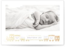 This is a purple foil stamped birth announcement by Rebecca Durflinger called welcome aboard! with foil-pressed printing on smooth signature in standard.