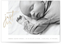 This is a brown foil stamped birth announcement by Olivia Raufman called Just In with foil-pressed printing on smooth signature in standard.