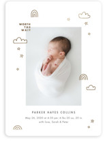 This is a white foil stamped birth announcement by Monika Drachal called Tiny Miracle with foil-pressed printing on smooth signature in standard.