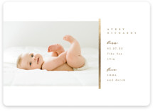 This is a brown foil stamped birth announcement by Creo Study called Sidebar with foil-pressed printing on smooth signature in standard.