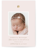 This is a pink foil stamped birth announcement by Jackie Crawford called Little Crown with foil-pressed printing on smooth signature in standard.
