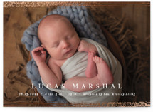 This is a white foil stamped birth announcement by Pixel and Hank called Marshall with foil-pressed printing on smooth signature in standard.