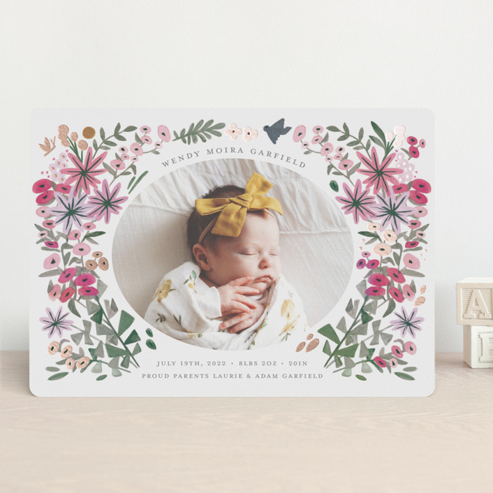 """""""Blossom Baby"""" - Foil-pressed Birth Announcements in Rose by Morgan Ramberg."""