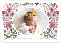 This is a green foil stamped birth announcement by Morgan Ramberg called Blossom Baby with foil-pressed printing on smooth signature in standard.