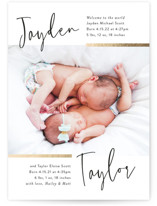 This is a white foil stamped birth announcement by Pink House Press called Double the Love with foil-pressed printing on smooth signature in standard.