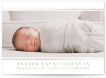 This is a white foil stamped birth announcement by Jessica Williams called Lined with foil-pressed printing on smooth signature in standard.