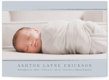 This is a blue foil stamped birth announcement by Jessica Williams called Lined with foil-pressed printing on smooth signature in standard.