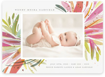 This is a pink foil stamped birth announcement by Morgan Ramberg called Splash Baby with foil-pressed printing on smooth signature in standard.