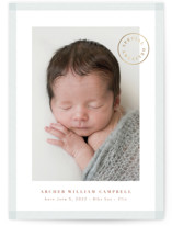 This is a blue foil stamped birth announcement by Kate Ahn called special delivery stamp with foil-pressed printing on smooth signature in standard.