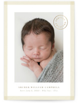 This is a beige foil stamped birth announcement by Kate Ahn called special delivery stamp with foil-pressed printing on smooth signature in standard.