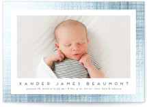 This is a grey foil stamped birth announcement by Erica Krystek called Shimmering Linen with foil-pressed printing on smooth signature in standard.