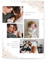 This is a beige foil stamped birth announcement by Pixel and Hank called Cascading with foil-pressed printing on smooth signature in standard.
