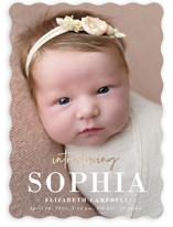 This is a white foil stamped birth announcement by Susan Asbill called gilded introduction with foil-pressed printing on smooth signature in standard.
