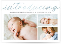 This is a white foil stamped birth announcement by Carolyn MacLaren called Big Introductions with foil-pressed printing on smooth signature in standard.