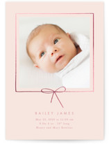 This is a pink foil stamped birth announcement by Baumbirdy called Little Bow with foil-pressed printing on smooth signature in standard.