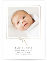 This is a white foil stamped birth announcement by Baumbirdy called Little Bow with foil-pressed printing on smooth signature in standard.