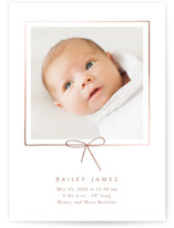 This is a brown foil stamped birth announcement by Baumbirdy called Little Bow with foil-pressed printing on smooth signature in standard.