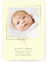 This is a yellow foil stamped birth announcement by Baumbirdy called Little Bow with foil-pressed printing on smooth signature in standard.