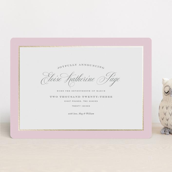 """Bon Bon"" - Foil-pressed Birth Announcements in Ballet Slipper by Toast & Laurel."
