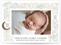 This is a green foil stamped birth announcement by Alethea and Ruth called Nighttime with foil-pressed printing on signature in standard.