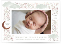 This is a beige foil stamped birth announcement by Alethea and Ruth called Nighttime with foil-pressed printing on pearlescent in standard.