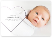This is a white foil stamped birth announcement by Ellis called Big Hearted with foil-pressed printing on smooth signature in standard.