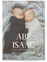 This is a white foil stamped birth announcement by Meggy Masters called Ampersand Twins with foil-pressed printing on smooth signature in standard.