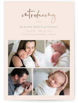 This is a beige foil stamped birth announcement by Carolyn MacLaren called Scripted Introductions with foil-pressed printing on smooth signature in standard.