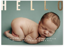 This is a white foil stamped birth announcement by Karidy Walker called gold hello with foil-pressed printing on smooth signature in standard.