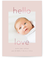 This is a pink foil stamped birth announcement by Robert and Stella called New Love with foil-pressed printing on smooth signature in standard.