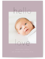 This is a purple foil stamped birth announcement by Robert and Stella called New Love with foil-pressed printing on smooth signature in standard.
