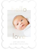 This is a white foil stamped birth announcement by Robert and Stella called New Love with foil-pressed printing on smooth signature in standard.