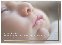 This is a white foil stamped birth announcement by Plain White Paper Co called Simple Shimmering with foil-pressed printing on smooth signature in standard.
