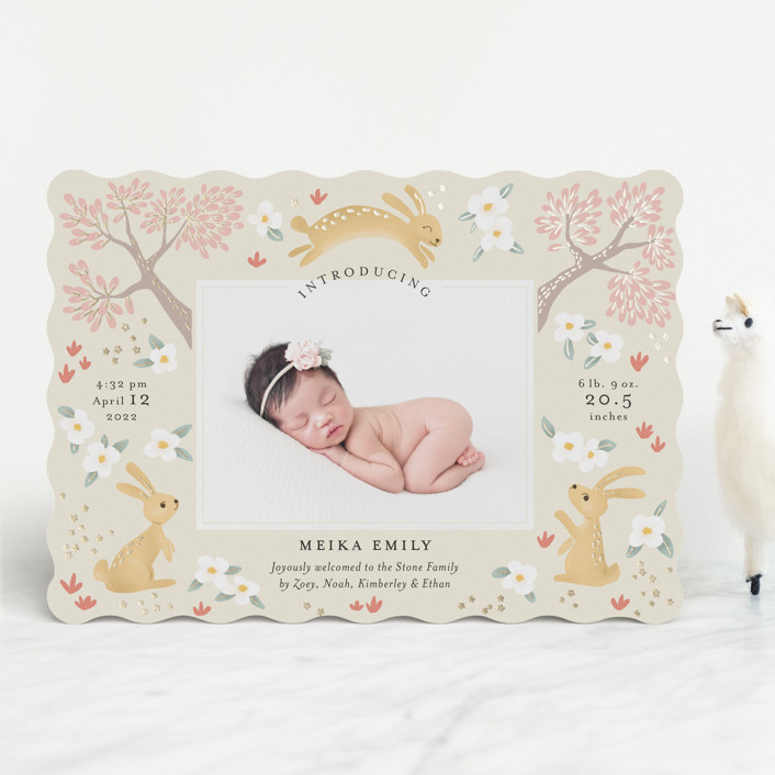 """""""Woodlands bunnies"""" - Whimsical & Funny Foil-pressed Birth Announcements in Blossom by Aaelia Creative Lab.."""