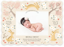 This is a pink foil stamped birth announcement by Aaelia Creative Lab. called Woodlands bunnies with foil-pressed printing on smooth signature in standard.